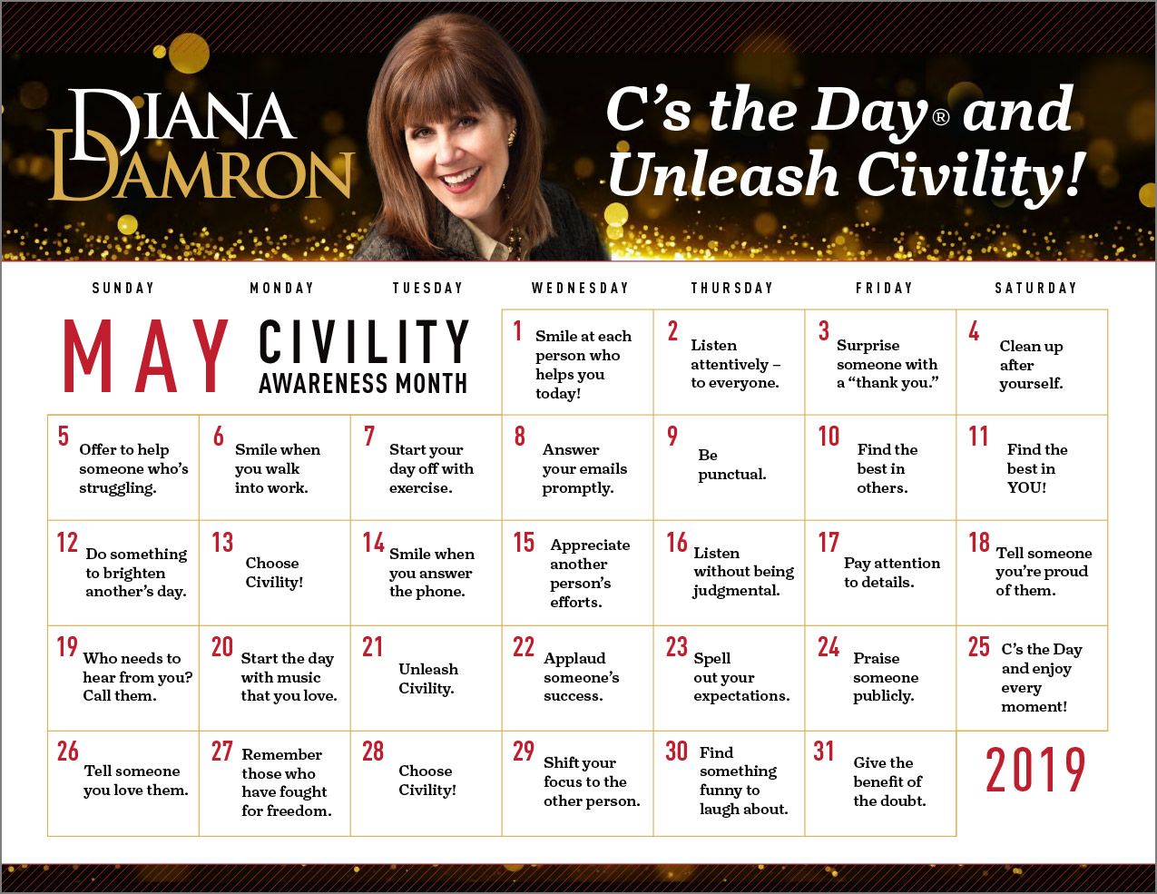May 2019 - Civility Month Calendar by Diana Damron