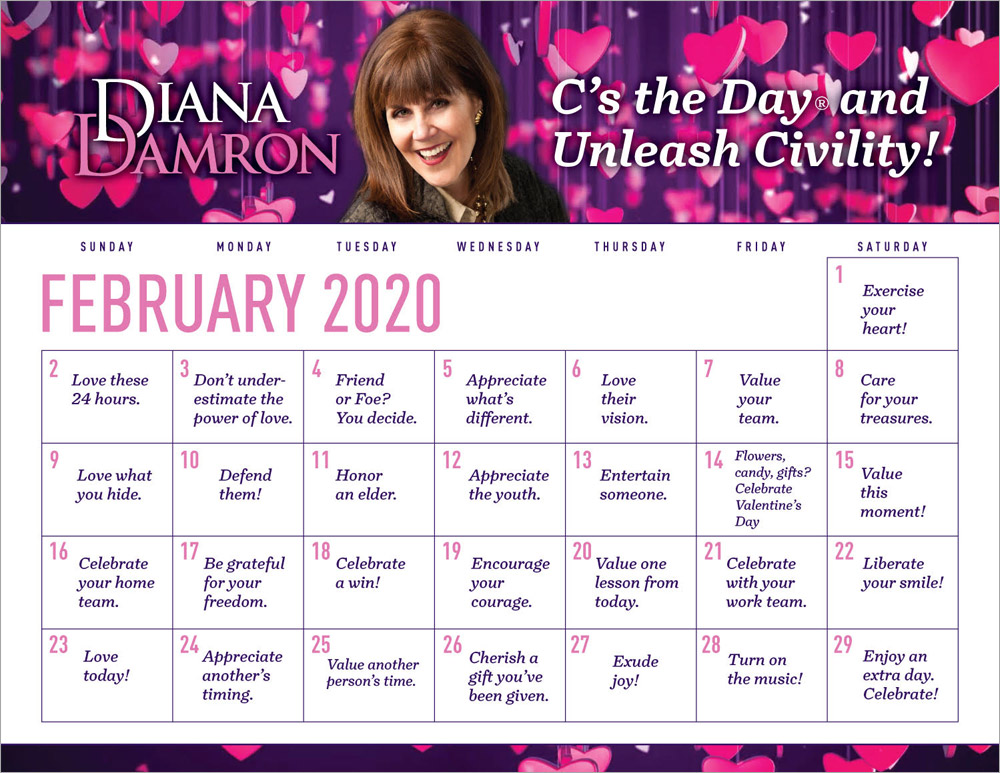 February 2020 Calendar by Diana Damron