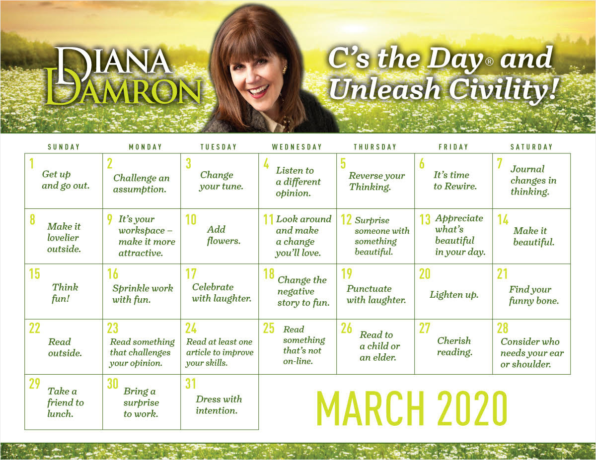 March 2020 Calendar by Diana Damron