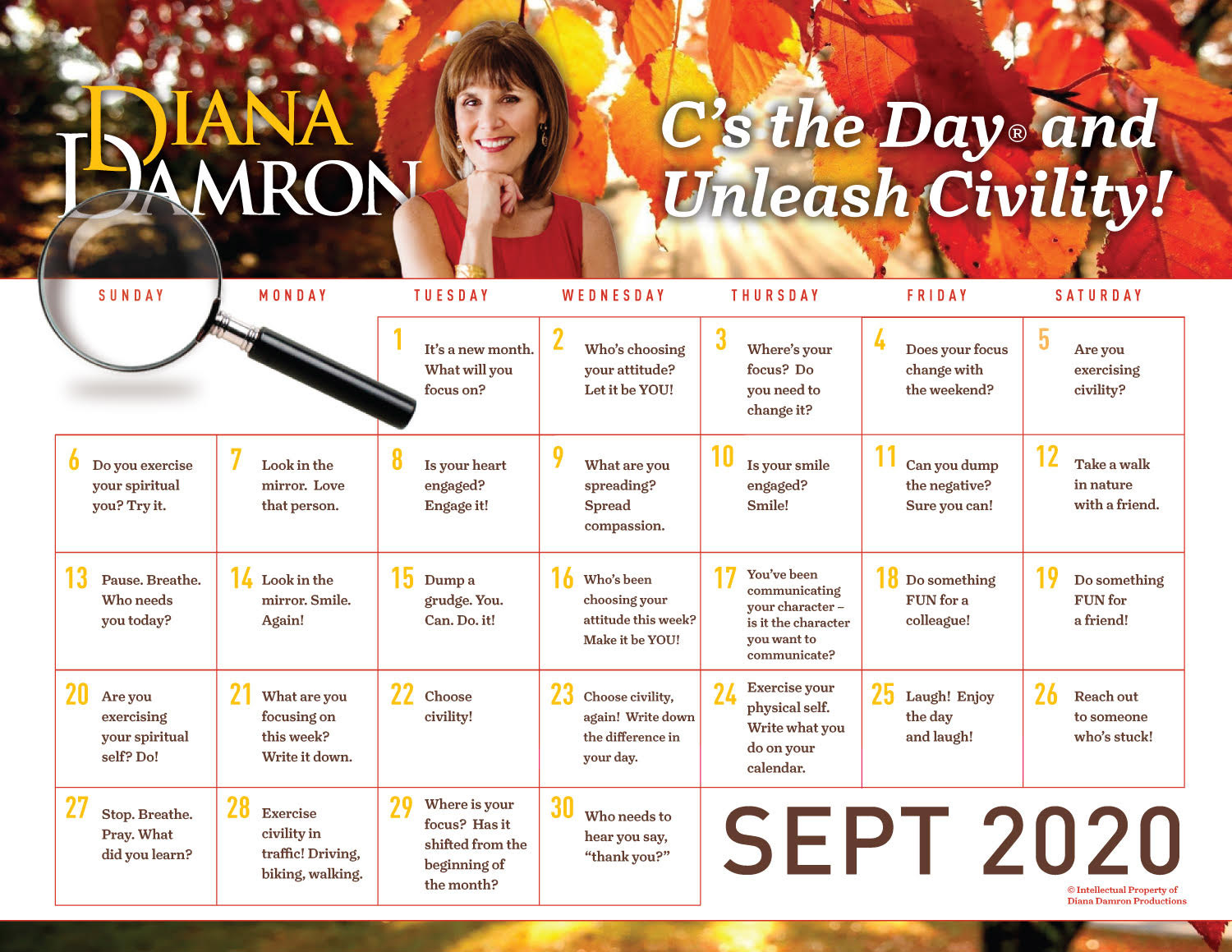 September 2020 Calendar by Diana Damron