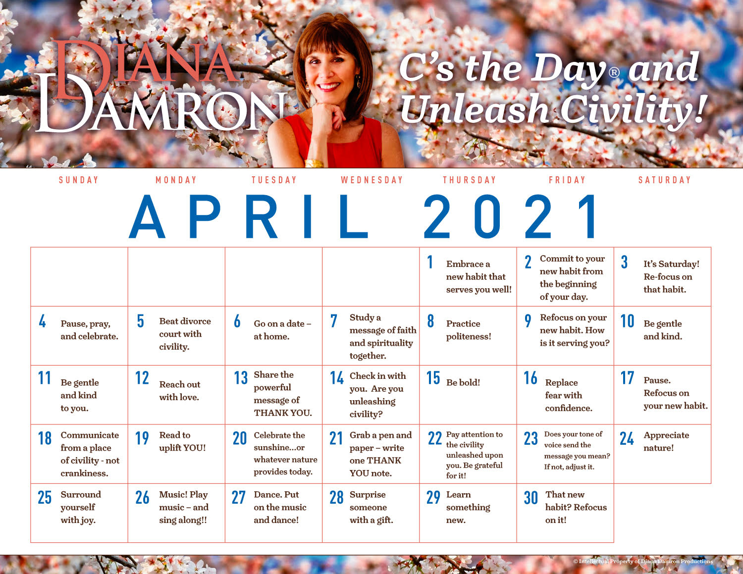 April 2021 Calendar by Diana Damron