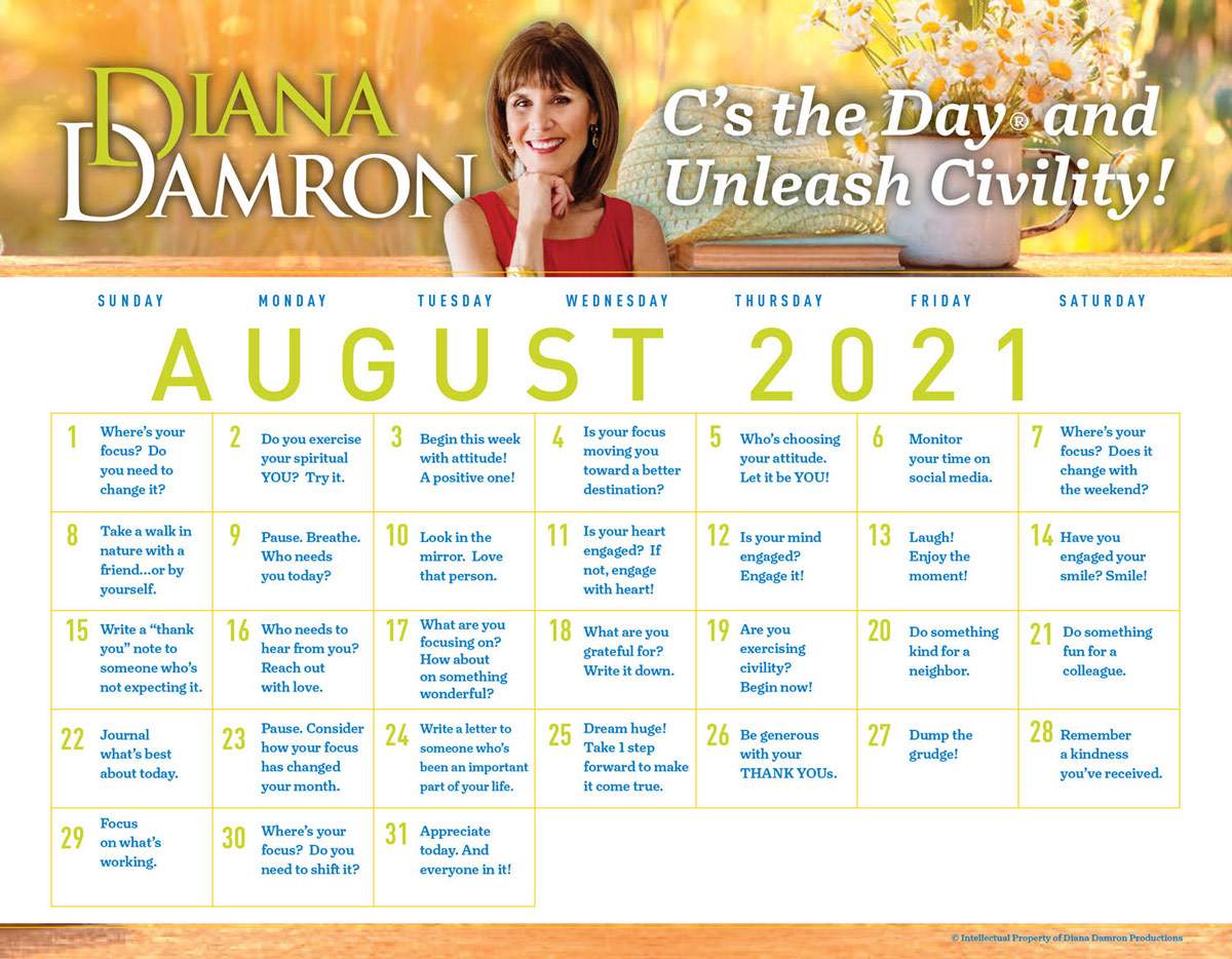 August 2021 Calendar by Diana Damron