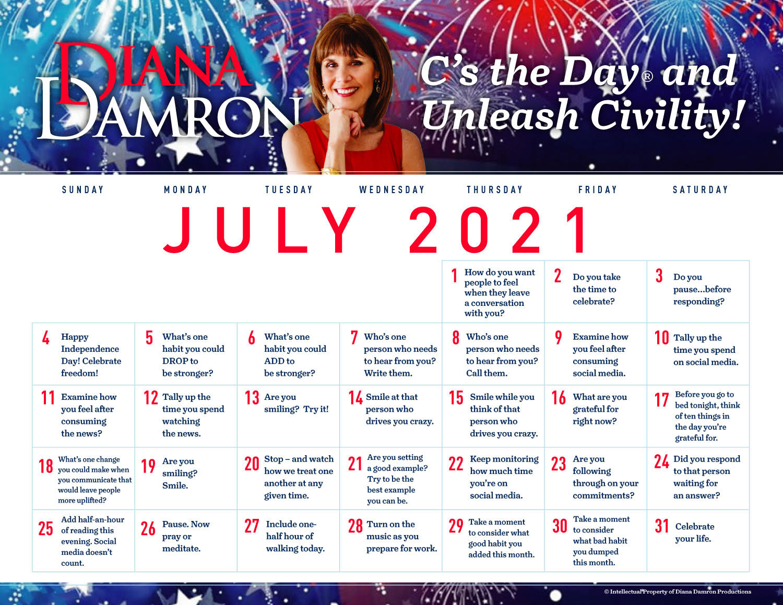 July 2021 Calendar by Diana Damron