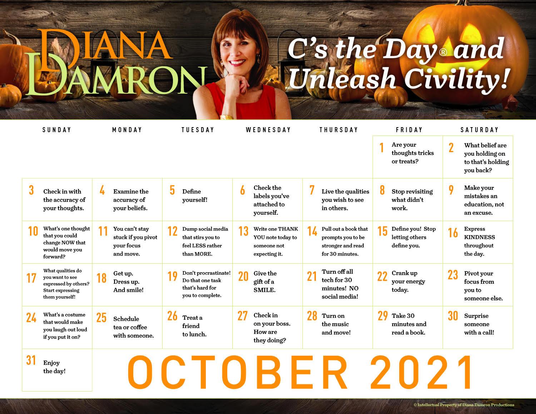 Oct 2021 Calendar by Diana Damron